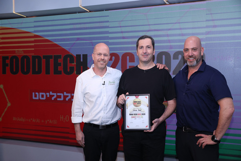 Foodtech 2020 competition winners, Amai's Dr Ilan Samish (left) Prof. Yaakov Nahmias, founder, and president of Future Meat Technologies and NextFerm CEO Boaz Noy. Photo: Orel Cohen